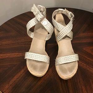 Stuart Weitzman Girls silver wedge sandals